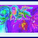""""""" Lány madarakkal """", Képzőművészet, Festmény, Festmény vegyes technika, Grafika, Festészet, Fotó, grafika, rajz, illusztráció, Számítógépes festményem nyomata fotópapíron. Fa-keretezve, üveggel,szignóval,sorszámmal, eredetiség..., Meska"""