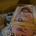 Vintage varrós doboz  , Otthon, lakberendezés, Tárolóeszköz, Doboz, Decoupage, szalvétatechnika, Új varrós doboz , most bevezető áron. !!!!!!! Koptatott  varrós doboz fém, fa  és csipke kiegészítő..., Meska
