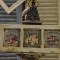 Konyhai fogas , Dekoráció, Konyhafelszerelés, Decoupage, szalvétatechnika, Fából készíült 3 képes konyhai kis fogas 38 cm hosszú 15cm magas 3 gombbal különböző képekkel kérhe..., Meska