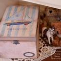 Baba kelengye doboz , Ékszer, óra, Dekoráció, Baba-mama-gyerek, Ékszertartó, Decoupage, szalvétatechnika, Rendelésre készítek kisfiúknak tároló dobozokat. A dobozhoz rendelhető kislányos mintával is. első ..., Meska