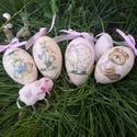 Gyönyörű formájú liba tojások díszítve, Dekoráció, Húsvéti apróságok, Ünnepi dekoráció, Decoupage, szalvétatechnika, Nagyon szép formájú , hatalmas liba tojások különböző díszítéssel.  Az ár a képen látható darabszám..., Meska