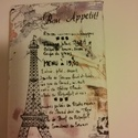 Párizs füzetborító, receptes könyv borítója, Naptár, képeslap, album, Naptár, Varrás, Borítója Párizs mintás textilből készült. Mérete: 13,5x19x3,5 cm.  Személyes átvétel Kispesten lehe..., Meska