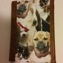 Jó fej, a kutyafej.... füzetborító, Naptár, képeslap, album, Naptár, Varrás, Kutyusos  anyagból és bőr hatású bútorszövetből készítettem. Mérete: 13,5x19x3,5 cm. Nem kicsi, nem..., Meska