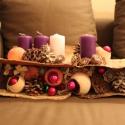 Adventi koszorú rózsaszín és lila gyertyákkal, Dekoráció, Ünnepi dekoráció, Karácsonyi, adventi apróságok, Karácsonyi dekoráció, , Meska