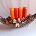 Karácsonyi dísz asztalra, kandallóra, Karácsonyi, adventi apróságok, Dekoráció, Karácsonyi dekoráció, Ünnepi dekoráció, Virágkötés, Hajó formájú alapon 4 db gyertya áll karácsonyi hangulatú díszítéssel. A gyertyák cserélhetőek, így..., Meska