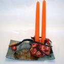 Üvegtál karácsonyi hangulatú díszítéssel, Dekoráció, Karácsonyi, adventi apróságok, Ünnepi dekoráció, Karácsonyi dekoráció, Virágkötés, Üvegtál karácsonyt idéző gyertyákkal és díszekkel, narancs szeletekkel és üveggömbökkel.  Mérete: 2..., Meska