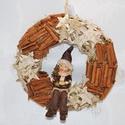 Téli kopogtató, Dekoráció, Karácsonyi, adventi apróságok, Ünnepi dekoráció, Karácsonyi dekoráció, Virágkötés, Nagyon szeretem ezt a  kopogtatót!  Fahéjjal, nyírfa csillaggal és kerámia babával díszítettük.   M..., Meska