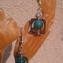 Zöld lámpagyöngy fülbevaló tibeti ezüst gyöngykeretben, Ékszer, óra, Fülbevaló, Ékszerkészítés, Egyszerű, mégis mutatós fülbevaló zöld lámpagyönggyel és négyzet formájú, tibeti ezüst gyöngykerett..., Meska