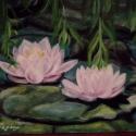 Tavirózsák a fűzfa alatt c. festmény, olajfestmény, Képzőművészet , Festmény, Olajfestmény, Festészet, Számomra a tavirózsa mindig egy kedves,romantikus virág marad. Örömmel festem,ugyanúgy mint a napra..., Meska