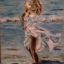 Nyári hangulatban c.olajfestmény, festmény, Képzőművészet , Festmény, Olajfestmény, Festészet, A festmény egy vízben álló lányt ábrázol,amint élvezi a napsütést,sőt a ragyogó napsütést.  A kép m..., Meska