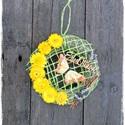 AKCIÓ! Sárga pillangós kopogtató, Dekoráció, Otthon, lakberendezés, Dísz, Virágkötés, Különleges ajtó dekoráció,sárga és zöld színekben, termésekkel, gombbal,és egy cuki pillangóval. , Meska