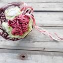 AKCIÓ!! Bordós vintage csokor , Esküvő, Esküvői csokor, Virágkötés, Többféle anyag felhasználásával készült vintage tartós csokor. ( Bordó selyem, világos tüll, csipke..., Meska