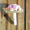 AKCIÓ!! Pink beige vintage csokor , Esküvő, Esküvői csokor, Virágkötés, Pamut anyag felhasználásával készült vintage tartós csokor pink és bézs színben. A szár része csipk..., Meska