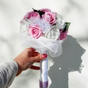 AKCIÓ!! White rose vintage csokor , Esküvő, Esküvői csokor, Virágkötés, Többféle virág felhasználásával készült vintage tartós csokor pink és fehér színben. A rózsák közöt..., Meska