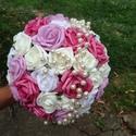 Magenta és fehér színű tartós csokor , Esküvő, Esküvői csokor, Virágkötés, Magenta és fehér színű rózsa felhasználásával készült vintage tartós csokor.  A rózsák között egy g..., Meska