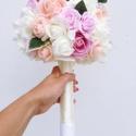 Örökcsokor , Esküvő, Esküvői csokor, Virágkötés, Barack, világos rózsaszín és beige színű rózsából készült ökörcsokor , mely örök emlék lehet egy fo..., Meska