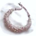 Rózsaszín nyaklánc álmodozóknak, Ékszer, óra, Fülbevaló, Ékszerkészítés, Ez a nyakék igazán különleges darab. Több sor rózsakvarc, igazgyöngy és kristály, amelyeket összefo..., Meska