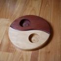 Jin-Jang alakú szétszedhető fa mécsestartó 2 db mécseshez, Dekoráció, Otthon, lakberendezés, Gyertya, mécses, gyertyatartó, Ünnepi dekoráció, Famegmunkálás, Égerfából készült ez az egyedi, összeilleszthető Jin-Jang alakú mécsestartó, amelyben 2 db teamécse..., Meska