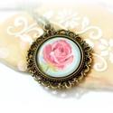 Romantikus rózsa nyaklánc, Ékszer, óra, Nyaklánc, Medál, Shabby chic stílusú, romantikus hangulatú nyaklánc  rózsa mintával.  A medál átmérője 3 cm. Az üvegl..., Meska