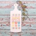 """""""All about spice"""" - vágódeszka, Dekoráció, Konyhafelszerelés, Dísz, Festett tárgyak, A natúr fa vágódeszkát fehér színűre festettem, a minta transzferálási technikával került fel rá, m..., Meska"""