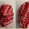 pirosas-bordós-háromszöges hátizsák, Táska, Hátizsák, , Meska