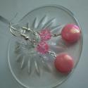 Rózsaszín gyöngyös fülbevaló, Ékszer, óra, Fülbevaló, Ékszerkészítés, Rózsaszín akril-, roppantott üveggyöngyből és ezüst színű szerelékekből készítettem ezt a fülbevaló..., Meska