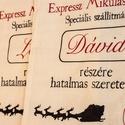 """""""Santa Express"""" Egyedi Mikulászsák Lenvászonból, Dekoráció, Karácsonyi, adventi apróságok, Ünnepi dekoráció, Ajándékzsák, Festett tárgyak, Megrendelhető a képen látható egyedi, névre szóló Mikulászsák.  A zsák anyaga lenvászon.  Mérete: 3..., Meska"""