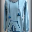 Égszínkék tündérpulcsi 42-es, Ruha, divat, cipő, Női ruha, Varrás, Égszínkék 100 % pamuttartalmú jerseyből készítettem ezt a tündérpulcsit. Hegyes kapucniját apróvirá..., Meska
