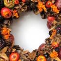 Szedres barnásnarancs ősz - termés-koszorú - RENDELHETŐ!, Dekoráció, Otthon, lakberendezés, Mindenmás, Virágkötés, A képeken látható példányok már gazdára találtak, de szívesen elkészítem újra. Nem csak ősszel, han..., Meska