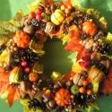 """Sütőtök napsugárral - őszi koszorú, Dekoráció, Otthon, lakberendezés, Mindenmás, Virágkötés, A levelek és tökök sárgáit juta-csokrocskákkal """"napoztam be"""".  Minden ősszel kell valami """"egyszerűe..., Meska"""