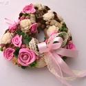 """Rózsás vintage - termés szív, Otthon, lakberendezés, Dekoráció, Dísz, Mindenmás, Virágkötés, Egy kedves vásárlóm rózsaszínben kérte a türkiz szívet, """"szívesen"""" :) elkészítem másnak is.   Széle..., Meska"""
