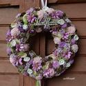 Rózsaszínek, lilák - virágos nyári termés-koszorú, Otthon, lakberendezés, Dekoráció, Dísz, Mindenmás, Virágkötés, Természetes anyagú, de tartós virágok nyílnak ezen a koszorún, ming rózsák és boglárkák, szárazvirá..., Meska
