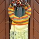 Melegség - őszi ajtódísz, Otthon, lakberendezés, Dekoráció, Dísz, Mindenmás, Virágkötés, A sál mintájába szerettem bele, ez nem is kérdés :) Fantasztikusan őszi meleg színei vannak, és eze..., Meska