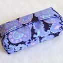 Újrahasznos!-Fekete alapon lila mintás zsepitartó, Táska, Pénztárca, tok, tárca, Zsebkendőtartó, Varrás, Egy izgalmas, fekete alapon lila-türkiz-rózsaszín mintás, ámde ódivatú szoknya egy darabja kelt újr..., Meska
