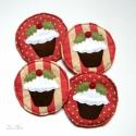 """Karácsonyi poháralátétek, Dekoráció, Karácsonyi, adventi apróságok, Karácsonyi dekoráció, Varrás, Karácsonyra hangolódva... muffinnal díszített, vidám poháralátéteket készítettem.   A """"csomag"""" 4 al..., Meska"""