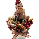 Karácsonyi hangulatú dísz, Otthon, lakberendezés, Dekoráció, Dísz, Virágkötés, Kedves, bájos, a tél és a karácsony hangulatát idéző asztaldíszt készítettem.  Az téli kisfiút mint..., Meska