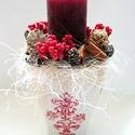 Karácsonyi gyertyás dísz, Otthon, lakberendezés, Dekoráció, Dísz, Virágkötés, Kedves, bájos, a tél és a karácsony hangulatát idéző asztaldíszt készítettem.  A nagy méretű, piros..., Meska
