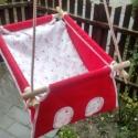 100 % pamut piros - pink zsiráf elefánt zebra hinta, Baba-mama-gyerek, Játék, Kerti játék, Famegmunkálás, Varrás, Erős vászonból készül ez a baba hinta, mely születéstől használható 25 kg-ig.  NAGY MÉRETŰ!!! 50 x ..., Meska