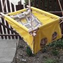 100 % pamut sárga-szürke szafari hinta, Baba-mama-gyerek, Játék, Kerti játék, Famegmunkálás, Varrás, Erős vászonból készül ez a baba hinta, mely születéstől használható 25 kg-ig.  NAGY MÉRETŰ!!! 50 cm..., Meska