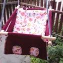100 % pamut bordó-rózsaszín állatos hinta, Baba-mama-gyerek, Játék, Kerti játék, Famegmunkálás, Varrás, Erős vászonból készül ez a baba hinta, mely születéstől használható 25 kg-ig.  NAGY MÉRETŰ!!! Így n..., Meska
