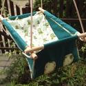 100% pamut zöld-zöld brekis hinta, Baba-mama-gyerek, Játék, Kerti játék, Famegmunkálás, Varrás, Erős vászonból készül ez a baba hinta, mely születéstől használható 25 kg-ig.  NAGY MÉRETŰ!!! 50 x ..., Meska