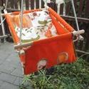 100 % pamut narancs-drapp szafari, Baba-mama-gyerek, Játék, Kerti játék, Famegmunkálás, Varrás, Erős vászonból készül ez a baba hinta, mely születéstől használható 25 kg-ig.  NAGY MÉRETŰ!!! 50 cm..., Meska