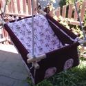 100 % pamut bordó-rózsaszín makis hinta, Baba-mama-gyerek, Játék, Kerti játék, Famegmunkálás, Varrás, Erős vászonból készül ez a baba hinta, mely születéstől használható 25 kg-ig.  NAGY MÉRETŰ!!! Így n..., Meska