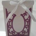 köszönetajándék átadó, Esküvő, Ünnepi dekoráció, Esküvői dekoráció, Meghívó, ültetőkártya, köszönőajándék, Papírművészet, Kedveskedhetsz a vendégeknek köszönet ajándékkal, ami ebbe a gyönyörű kis zacskóba teszel. (pl cukr..., Meska