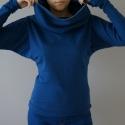 ARKA táskapulcsi, kék, női, Ruha, divat, cipő, Női ruha, Kabát, A kék pulcsi gallérja is a saját anyagával van bélelve most!!!  Táskává alakítható kámzsanyakú pulcs..., Meska