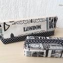 LONDON  - tolltartó zsepitartóval , Táska, Neszesszer, Pénztárca, tok, tárca, Zsebkendőtartó, Varrás, Patchwork, foltvarrás, Vintage hangulatú London szett -   tolltartó és zsebkendőtartó   Bútorvászon és fekete-fehér pöttyö..., Meska