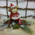 Rénszarvas nyírfalapon, Dekoráció, Karácsonyi, adventi apróságok, Ünnepi dekoráció, Karácsonyi dekoráció, Virágkötés, Nyírfaszelet az alapja ennek az összeállításnak,mely akár lehet dísz az ünnepi asztalon vagy egy po..., Meska