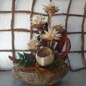 Szárazvirág Kókuszban, Dekoráció, Dísz, Virágkötés, A Kókusz külső héjába készítettem ezt az asztaldíszt.Az év minden napján különleges dekorációja leh..., Meska