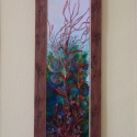 """""""Fojtó kert""""  (festmény)  - zsűrizett alkotás, Képzőművészet, Dekoráció, Festmény, Festmény vegyes technika, Üvegművészet, Festészet, A mélyzöld bokrokból feltörő tűzvörös virág a százéves álmából ébredő Csipkerózsika palotakertjét i..., Meska"""