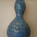 """""""Kék füzér""""  (függeszthető töklámpa) , Képzőművészet, Dekoráció, Otthon, lakberendezés, Vegyes technika, Mindenmás, Egyedi kivitelű, kivételes hangulatú alkotások. Míg a festett töklámpák igazi szépsége nappali fény..., Meska"""